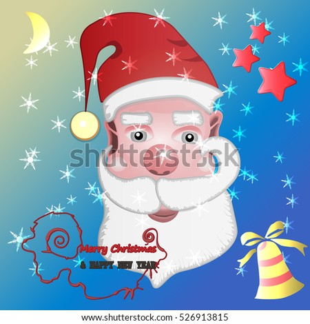 Christmas background with Santa Claus and the inscriptions Merry Christmas and Happy New Year Ho-Ho-Ho Vector illustration.