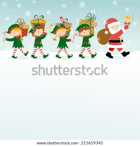 Christmas background with Santa Claus,  elves and copy space. - stock vector