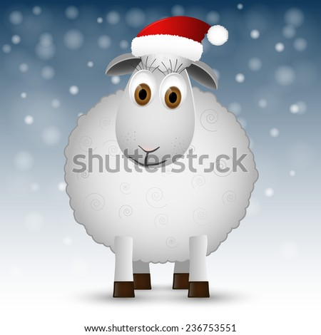 Christmas background with sheep. Vector illustration. - stock vector