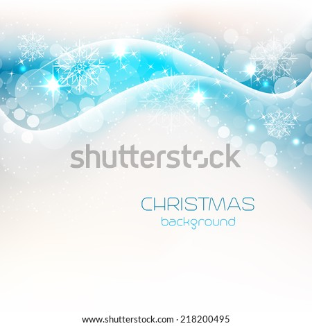 Christmas background with shiny effect, bubbles, stars and snowflakes/vector illustration - stock vector