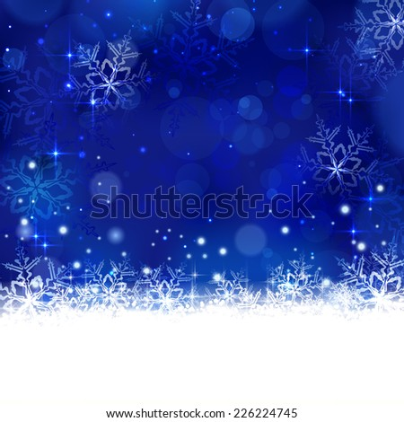 Christmas background with shiny light effects, blurry lights, and glittering snowflakes in shades of blue. Great for the any winter design and festive season of Christmas to come. - stock vector