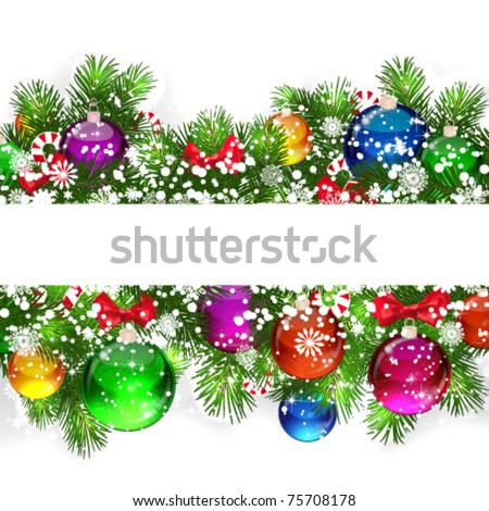 Christmas background with snow-covered branches of Christmas tree, decorated with candies and balloons. - stock vector