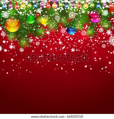 Christmas background with snow-covered branches of Christmas tree, decorated with garlands and balloons.