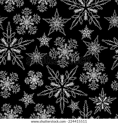 christmas background with snow flakes, vector, seamless pattern - stock vector