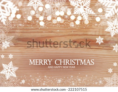 Christmas background with snow & wood texture. Vector illustration