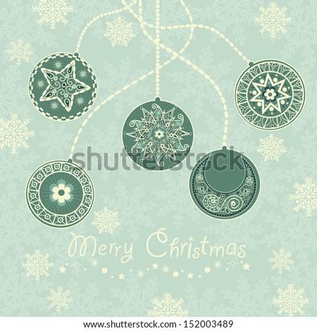 Christmas background with snowflake and christmas balls - stock vector