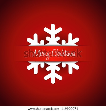 Christmas background with snowflake - Merry Christmas lettering. Vector file - stock vector