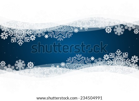 Christmas background with snowflake, vector illustration. - stock vector