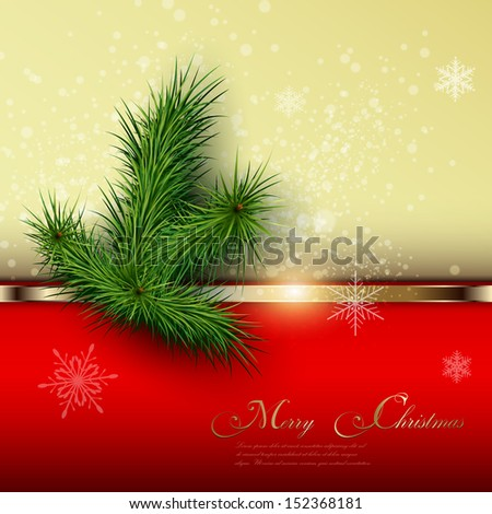 Christmas background with snowflakes and christmas tree, vector. - stock vector