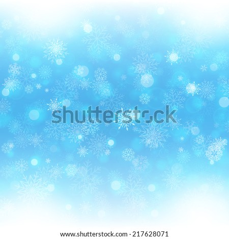 Christmas background with snowflakes and lights. Vector image - stock vector