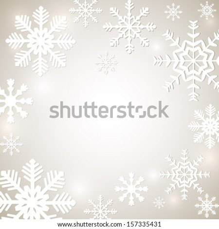 Christmas background with snowflakes and place for text. Vector Illustration.