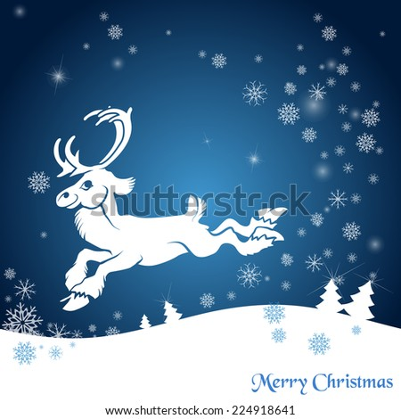 Christmas background with snowflakes and reindeer. - stock vector