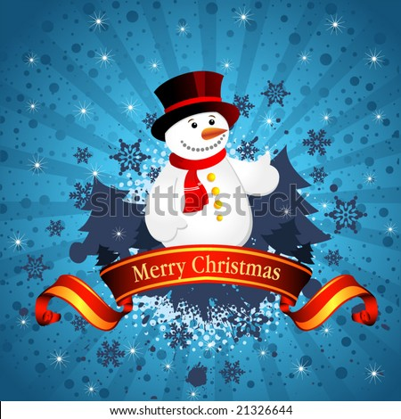 Christmas background with snowflakes and snowman, vector illustration