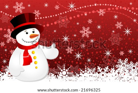 Christmas background with snowflakes and snowman, vector illustration 4