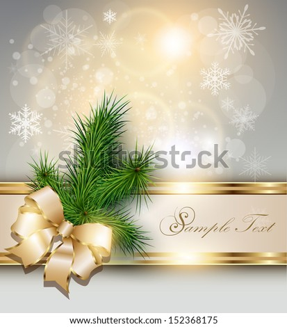 Christmas background with snowflakes, christmas tree and a bow. - stock vector