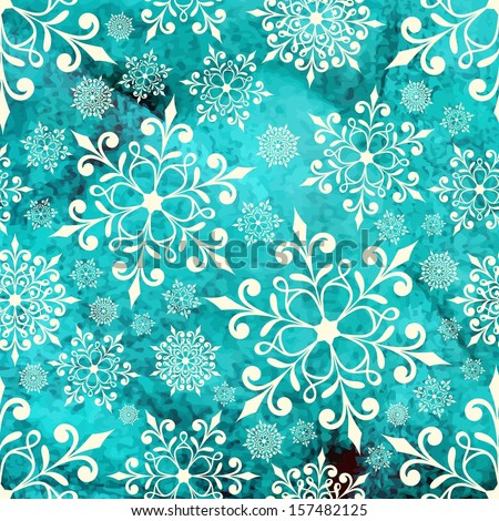 Christmas background with snowflakes. Festive New Year card. - stock vector