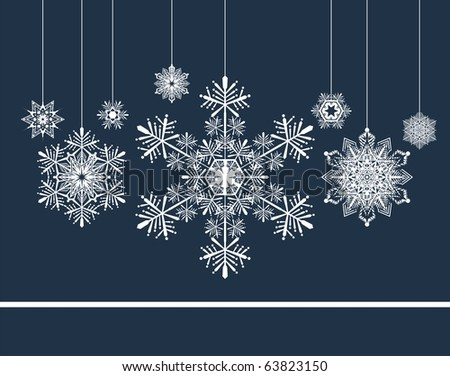 christmas background with snowflakes, individual objects very easy to edit in vector format - stock vector