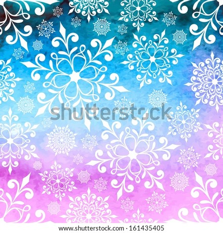 Christmas background with snowflakes. New Year card. Watercolor winter background. - stock vector