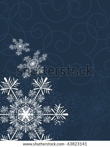 christmas background with snowflakes on curl shapes background, individual objects very easy to edit in vector format - stock vector