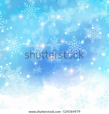 Christmas background with snowflakes on watercolor background