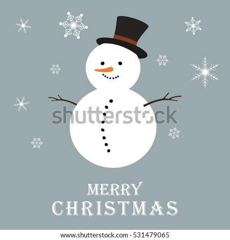 Christmas background with snowman and snowflakes. New Year. Vector illustration.