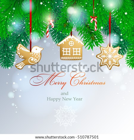 Christmas background with spruce branches. Vector  EPS 10.