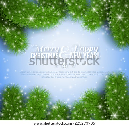 Christmas background with spruce branches. Vector illustration. Invitation or greeting card holiday design for New Year event. - stock vector