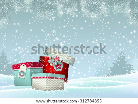 Christmas background with stack of colorful presents in snowy landscape, vector illustration, eps 10 with transparency and gradient meshes - stock vector