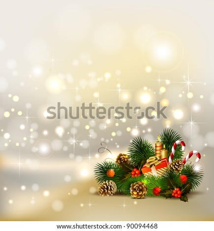 Christmas background  with still life of fir tree with burning candles and Christmas bauble in the corner - stock vector