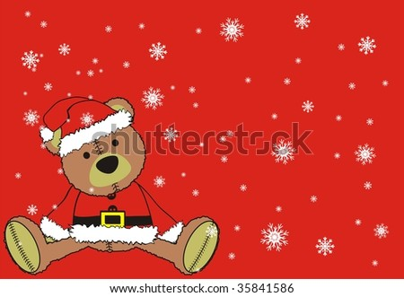 christmas background with teddy bear in vector format