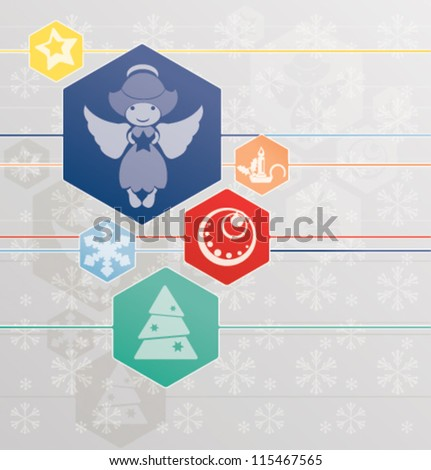 Christmas background with tender snowflakes and angel which is holding the star and other Christmas symbol like jingle bell, christmas tree, decoration, candle. - stock vector