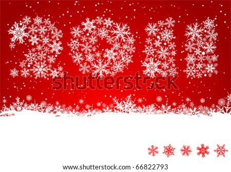 Christmas background with text 2011 year, element for design, vector illustration - stock vector