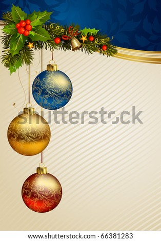 Christmas background with three balls - stock vector