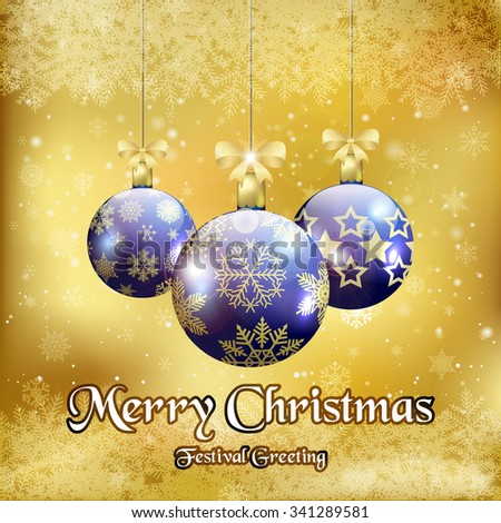 Christmas background with three Christmas baubles / Christmas greeting card with Christmas balls  - stock vector