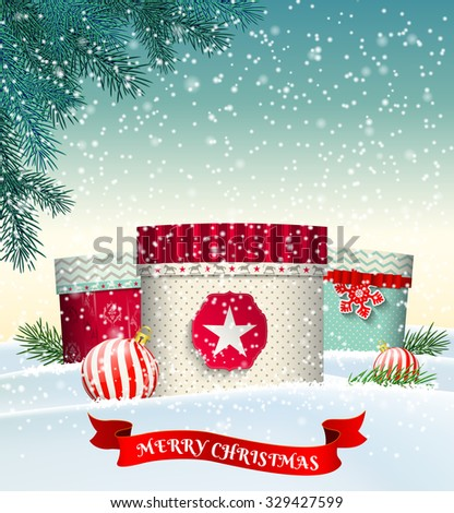 Christmas background with three colorful gift boxes in winter landscape, vector illustration, eps 10 with transparency and gradient meshes - stock vector