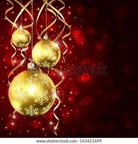 Christmas background with three golden baubles, illustration. - stock vector