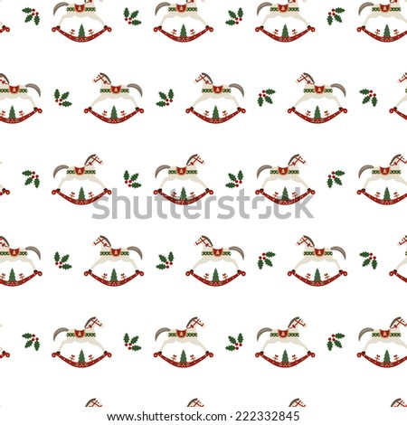 Christmas background with traditional rocking horse, seamless tiling, wrapping paper pattern - stock vector
