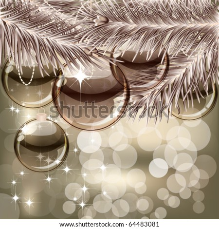 Christmas background with transparent balls - stock vector