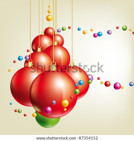 christmas background with tree and balls - stock vector