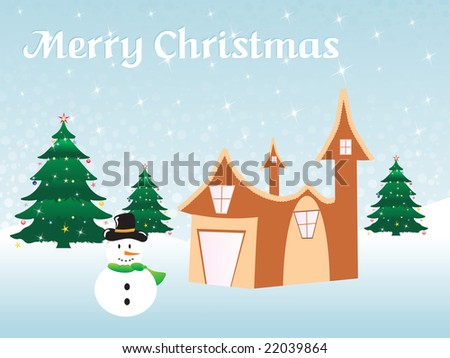 christmas background with tree house, vector illustration