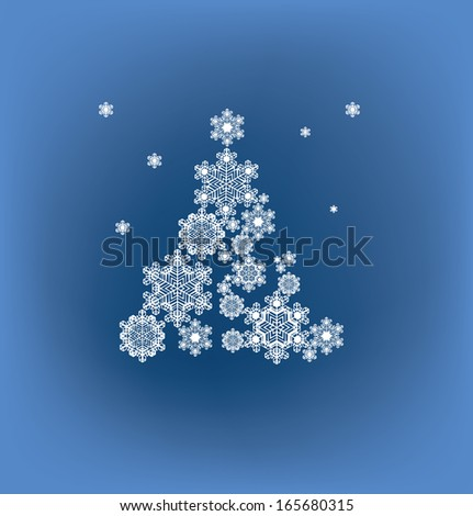 Christmas background with tree silhouette formed by  snowflakes - stock vector