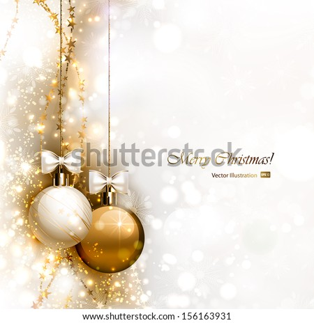 Christmas background with two Christmas baubles - stock vector