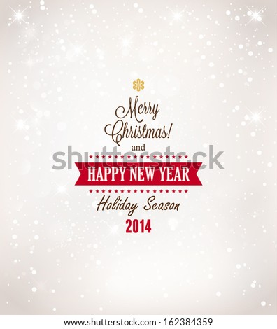 Christmas Background With Typography  - stock vector