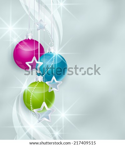 Christmas background with various colors Christmas balls - stock vector