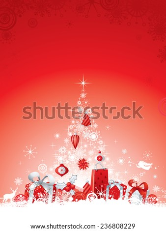 Christmas Background with white Christmas Tree, gifts and decorations. - stock vector