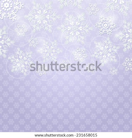 Christmas Background with White Shiny Snowflakes on Light Grey Background. Vector Holiday Card - stock vector