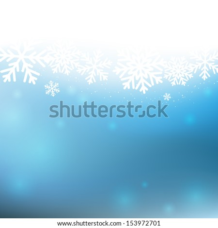Christmas background with white snowflakes - stock vector