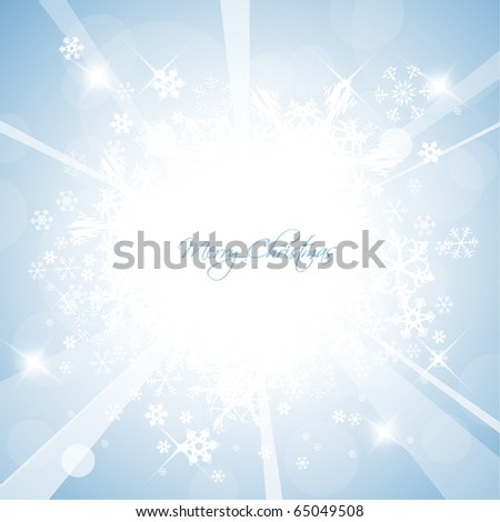 Christmas background with white snowflakes and place for your text - stock vector