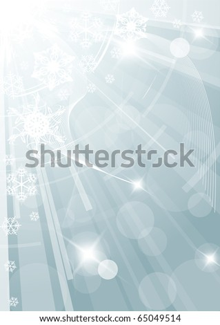 Christmas background with white snowflakes light blue version - stock vector