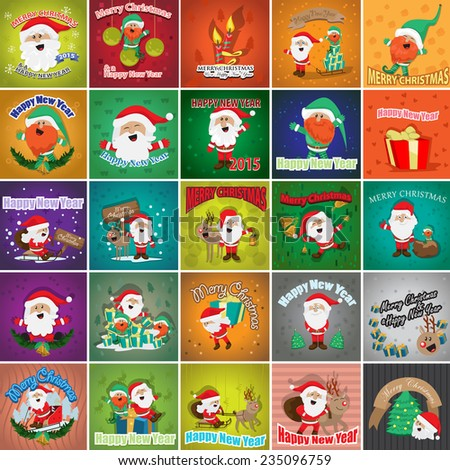 Christmas Backgrounds Set - Vector Illustration, Graphic Design Editable For Your Design, Collection Of Christmas Icons, Christmas Concept   - stock vector